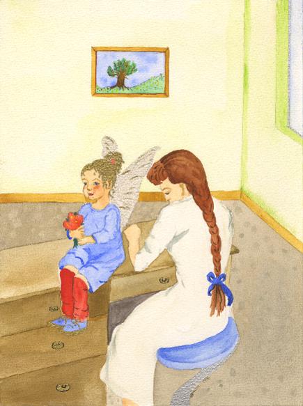 Engel mit Stationsschwester, Illustration, Die Farben des Himmels